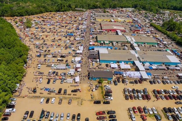 Vista aérea panorâmica da englishtown os melhores mercados de pulgas nj usa
