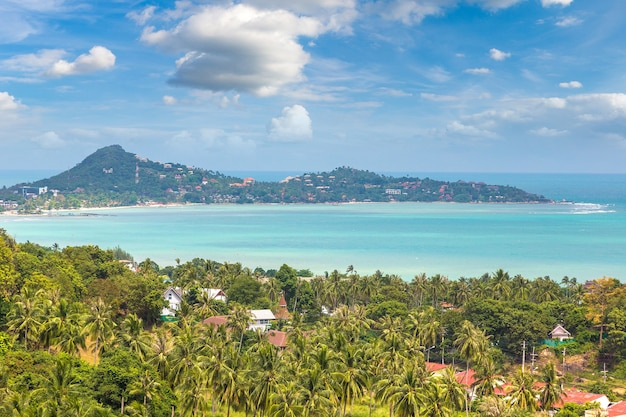 Vista aérea panorâmica da ilha de koh samui, tailândia