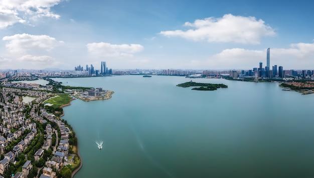 Vista aérea panorâmica da paisagem da cidade de suzhou