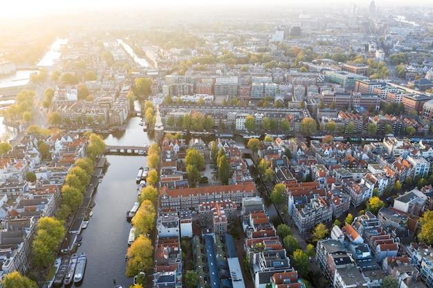 Vista aérea panorâmico de amsterdão, países baixos. vista, sobre, histórico, parte, de, amsterdão