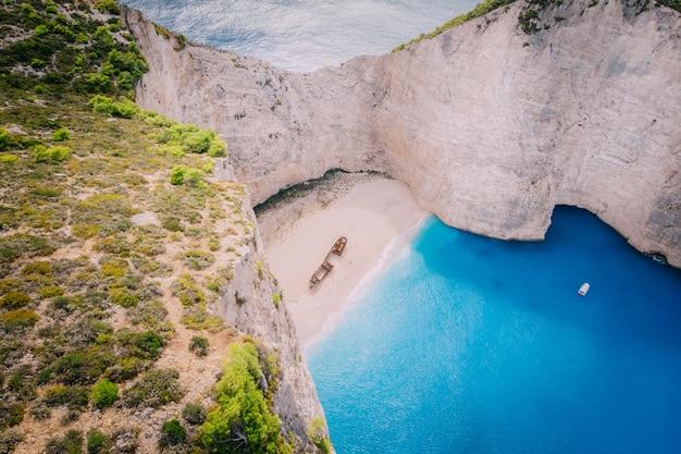 Vista aérea praia navagio bay shipwreck grécia, zakynthos