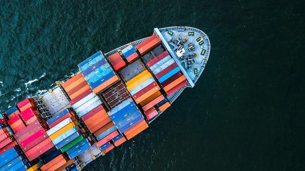 Vista aérea, recipiente, cargo, navio, importação, e, exportação, negócio,