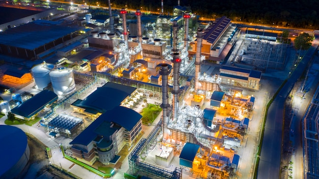 Vista aérea refinaria de petróleo, planta de refinaria