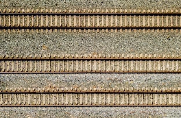 Vista aérea superior de algumas trilhas railraod textura isolada f
