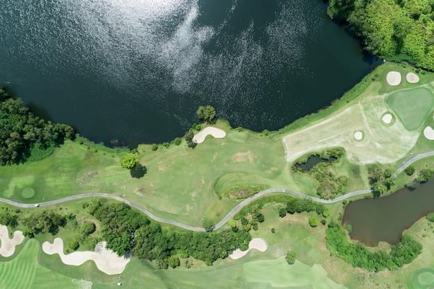Vista aérea, zangão, tiro, de, bonito, campo golfe