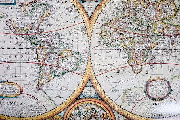 Vista alta ângulo, de, antigas, histórico, mapa