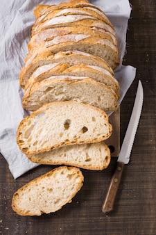 Vista alta de pães