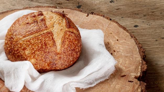 Vista alta, de, pão, ligado, pano