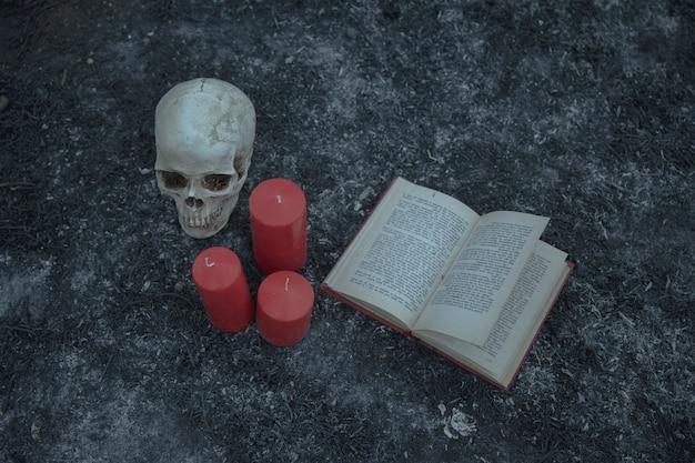 Vista alta do arranjo de bruxaria com livro de caveira e encantamento