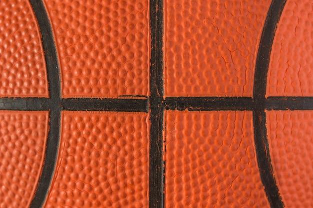 Vista ascendente fechado do basquetebol para o fundo. basquetebol.