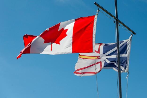 Vista baixa ângulo, de, canadense, e, newfoundland, bandeiras, twillingate, ilha sul twillingate, newfoundla