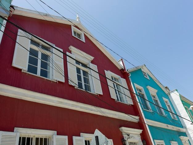 Vista baixa ângulo, de, colorido, casas, valparaiso, chile