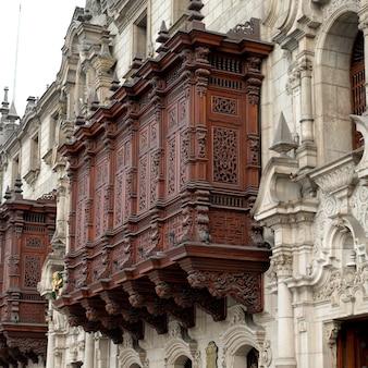 Vista baixa ângulo, de, palácio arcebispo, catedral lima, prefeito praça, histórico, centro, de, lima, lima, peru
