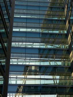 Vista baixa ângulo, de, um, edifício escritório, montreal, quebec, canadá
