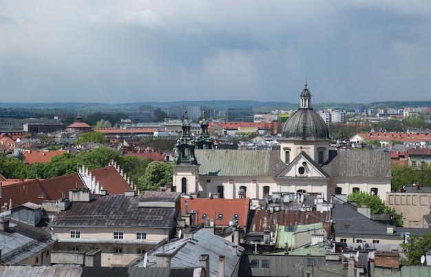 Vista da antiga cracóvia a partir de uma altura, polônia, europa