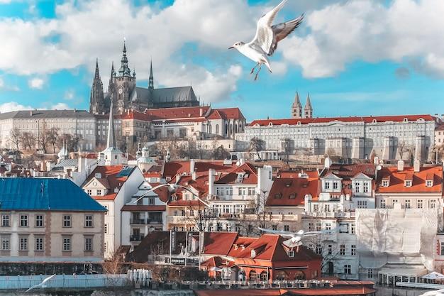 Vista da catedral de são vito, o rio moldava, praga, república tcheca.