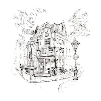 Vista da cidade da casa e lanterna de amsterdã