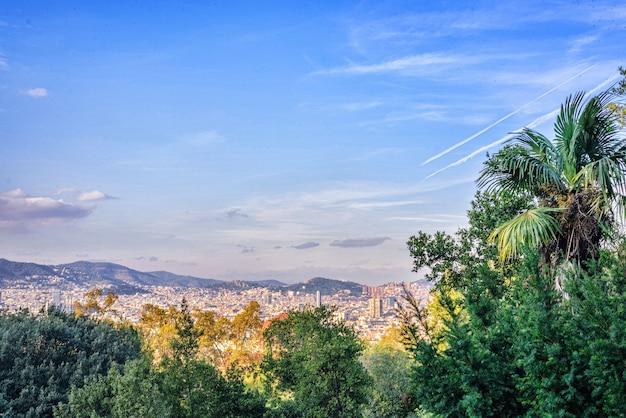 Vista da cidade de barcelona a montjuic mountain spain