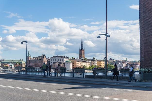 Vista da cidade de gamla stan, a cidade velha no centro de estocolmo, suécia