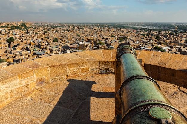 Vista da cidade de jaisalmer do forte de jaisalmer, rajastão, índia