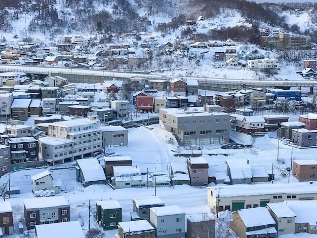 Vista da cidade de otaru, hokkaido japão