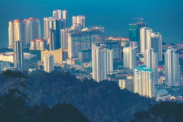 Vista da cidade de penang, vista das colinas de penang