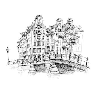 Vista da cidade do canal e brifge de amsterdam