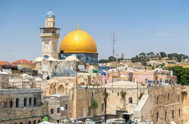 Vista da cúpula da rocha em jerusalém - israel Foto Premium