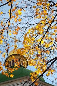 Vista da cúpula do edifício da catedral de santa sofia de outono (http://en.wikipedia.org/wiki/saint_sophia_cathedral_in_kiev). centro da cidade de kiev, ucrânia.