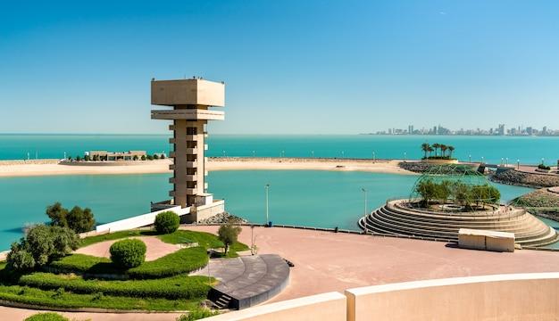 Vista da ilha verde no kuwait, a primeira ilha artificial na região do golfo pérsico