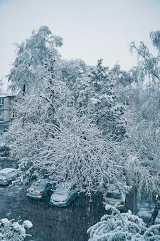 Vista da janela para casas de ruas congeladas, carros e árvores estão cobertos de neve, inverno, gelo, paisagem