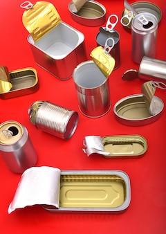 Vista da lata pode isolado no vermelho