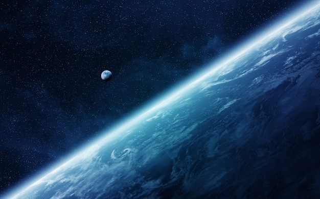 Vista da lua perto do planeta terra no espaço