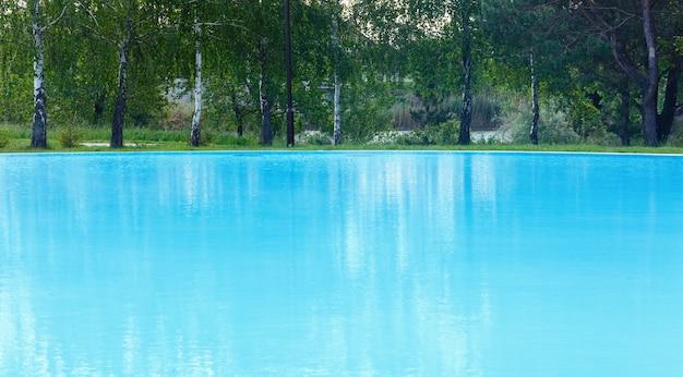 Vista da piscina ao ar livre com o reflexo da árvore na superfície da água.