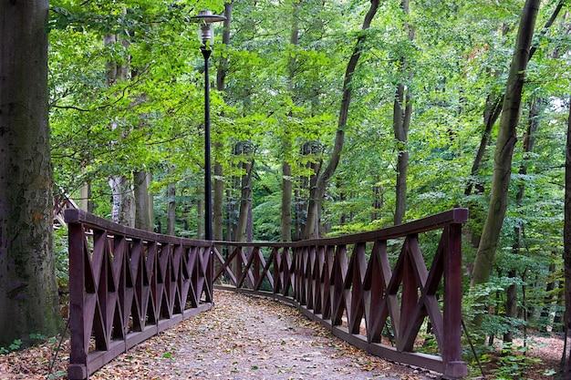 Vista da ponte no parque ajardinado no verão.