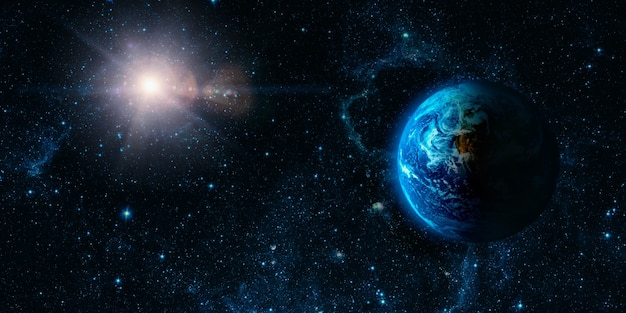 Vista da terra a partir da lua. elementos desta imagem fornecidos pela nasa