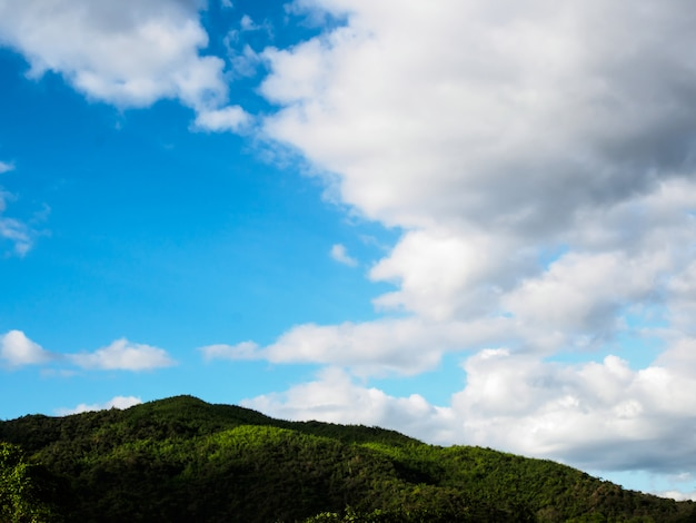 Vista das florestas na montanha com nevoeiro no céu azul com nuvens