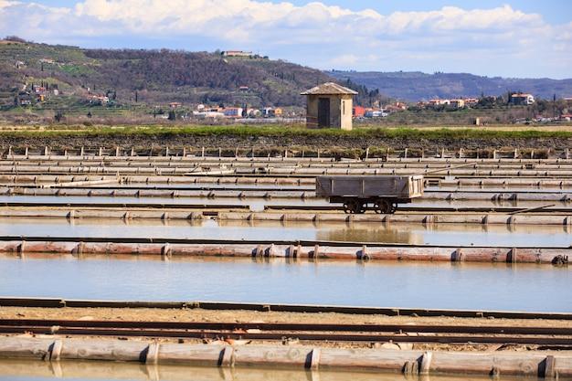 Vista das lagoas de evaporação de sal em secovlje