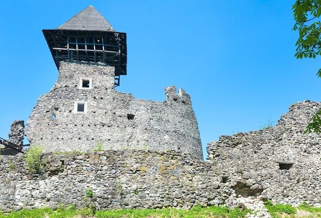 Vista das ruínas do castelo de nevytsky no verão (vila kamyanitsa, 12 km ao norte de uzhhorod, oblast de zakarpattia, ucrânia). construída no século xiii.