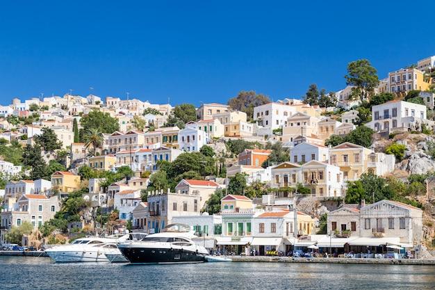 Vista, de, a, baía, em, ilha symi, grécia