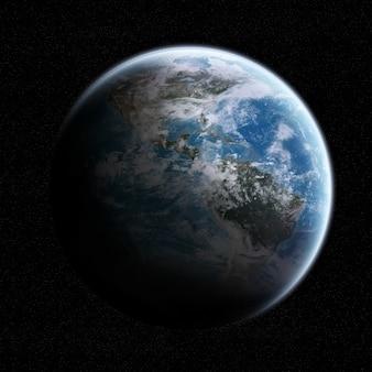 Vista, de, a, planeta terra, em, espaço