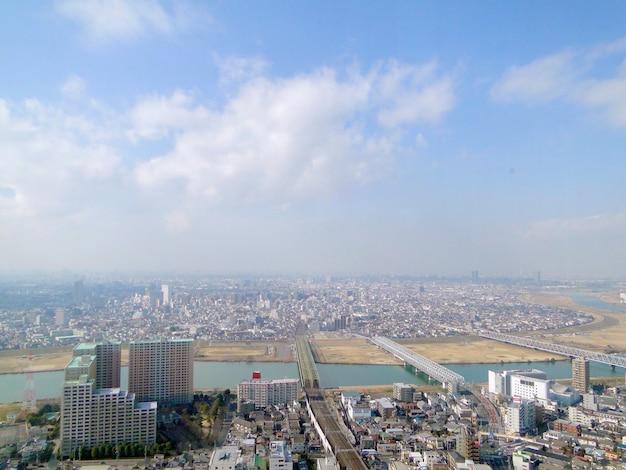 Vista de alto ângulo da cidade de tóquio e chiba.