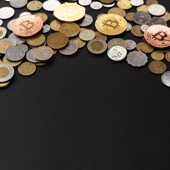 Vista de alto ângulo da moeda