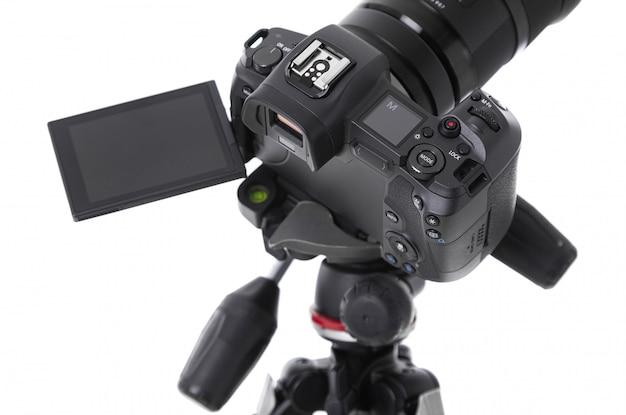 Vista de alto ângulo da tela da moderna câmera preta