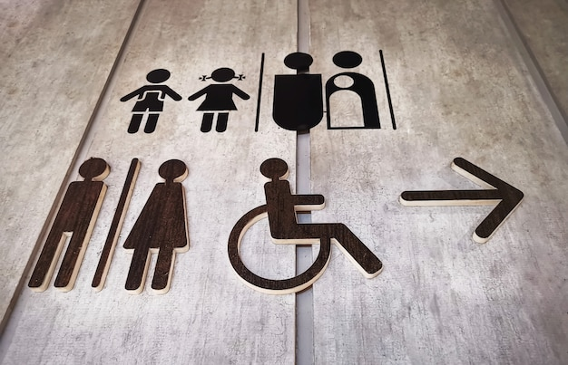 Vista de ângulo baixo de vários projetos de símbolos de banheiro