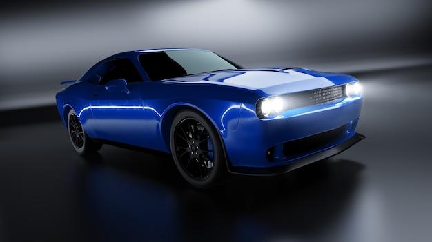Vista de ângulo frontal de um muscle car americano sem marca azul genérico sobre um fundo preto. conceito de transporte. ilustração 3d e renderização em 3d.