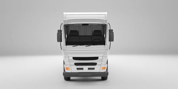 Vista de ângulo frontal do caminhão de entrega em fundo branco do estúdio. renderização 3d.
