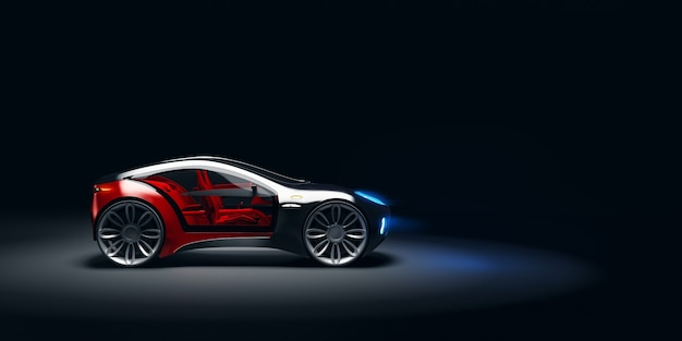 Vista de ângulo lateral do carro esportivo rápido futurista na luz do estúdio. carro-conceito sem marca. ilustração 3d