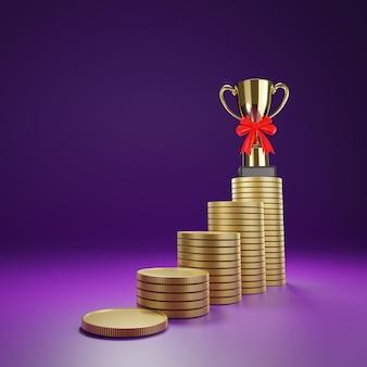 Vista de baixo a linha de moedas de ouro empilhadas como um passo até o troféu no topo.