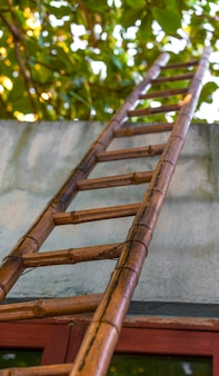 Vista de baixo ângulo da escada de bambu, caminho para o céu.